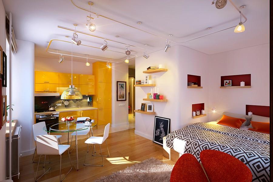 Nội thất căn hộ sặc sỡ với không gian mở